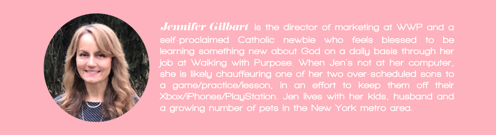 Walking with Purpose blogger bio